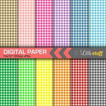 Gingham Digital Paper, Multi Colors