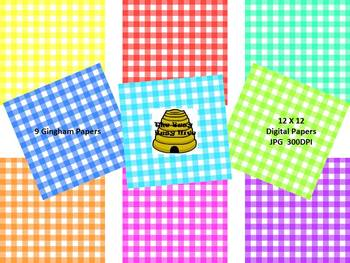 Gingham Digital Papers {9 backgrounds for personal & commercial use}