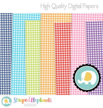 Gingham Digital Papers Bright
