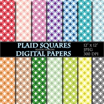 Gingham Digital Papers Rainbow Plaid Papers Scrapbook Printable Pink Red Blue