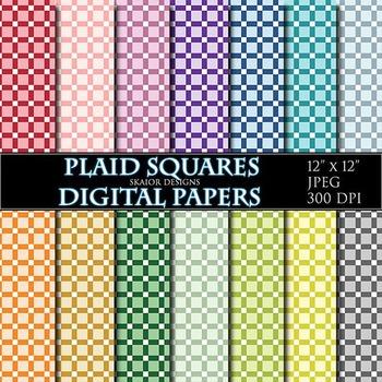 Gingham Digital Papers Rainbow Plaid Papers Scrapbook Printable Pink Red Blue