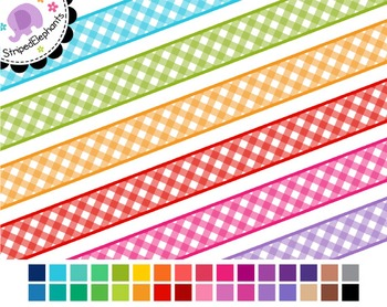 Gingham Digital Ribbon Borders