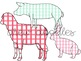 Gingham Farm Animals Digital Clip Art Set