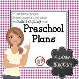 Gingham - Lesson Plan FORMS & Preschool Planning Pages