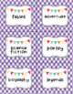 Gingham Library Label Cards by Genre