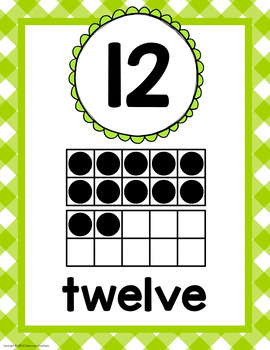 Gingham Number Posters- Classroom Decor
