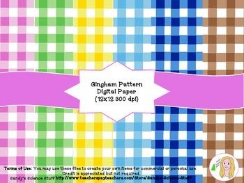 Gingham Pattern Digital Paper