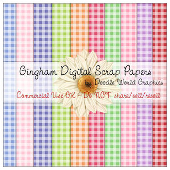 Gingham Pattern Scrapbook Size Digital Papers Package