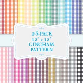 "Gingham Patterns (Rainbow) - 25-Pack - 12"" x 12"""