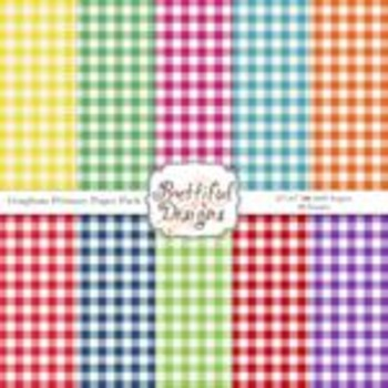 Gingham Primary Paper Pack