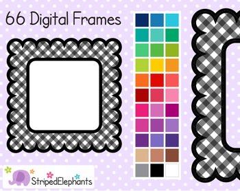 Gingham Scalloped Square Digital Frames