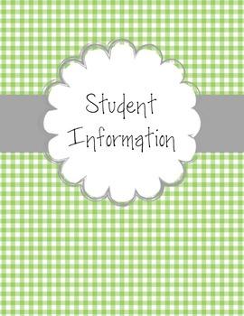 Gingham Teacher Binder Covers - Editable