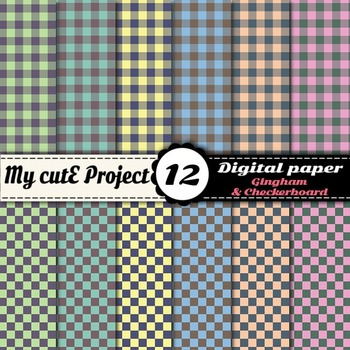 Gingham and checkerboard - - DIGITAL PAPER - Scrapbooking- A4 & 12x12""