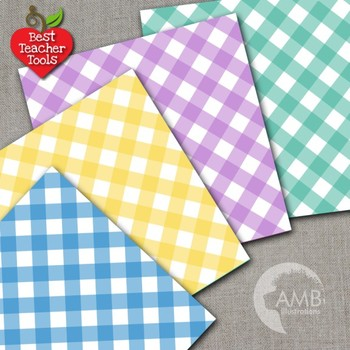 Gingham digital papers, Gingham patterns in Rainbow Colors, AMB-1297