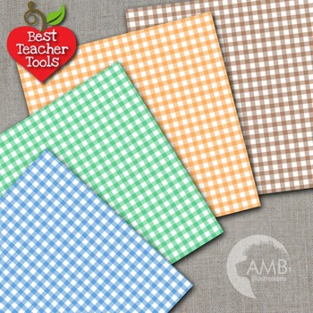 Gingham digital papers, Gingham patterns in Rainbow Colors, AMB-880
