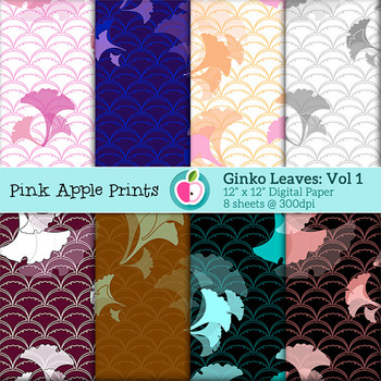 Ginko Leaves Vol 1 Digital Papers Set: Graphics for Teachers