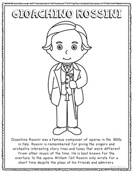 Gioachino Rossini, Famous Composer Informational Text Coloring Page Craft