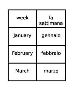 Giorni, Mesi, Stagioni (Days, Months, Seasons in Italian) Concentration games