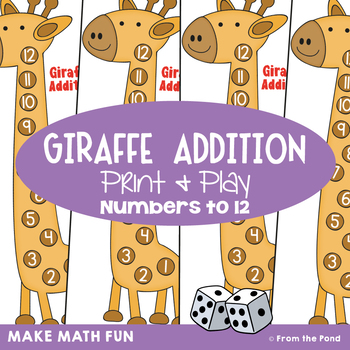 Addition Game - Giraffe Addition- Math Center for Early Number