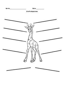 Giraffe Adjectives- Editable