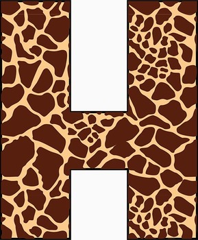 Giraffe Alphabet – Full Set of Characters — Latin, Numbers, Punctuation–300 DPI
