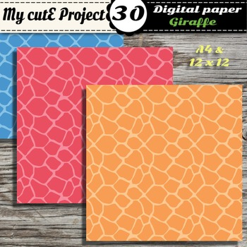 Giraffe - Animal Prints- DIGITAL PAPER-Instant Download-Scrapbooking-A4 & 12x12""