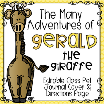Giraffe Class Pet Journal Cover & Directions Page