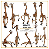 Giraffe Clip Art - 10 Clipart Images in Both Color and Blackline