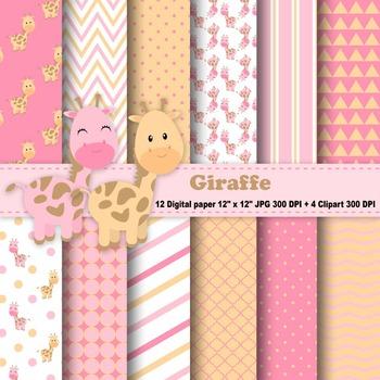 Giraffe Digital Paper & Clipart