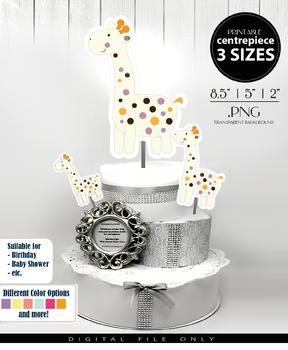 Giraffe Gender Neutral Centerpiece, Cake Topper, Clip Art Decoration in White wi