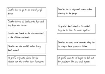 Giraffe Information text and Fiction Sentence Jumble/Sort - Year 2