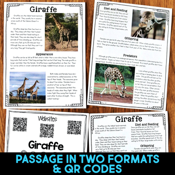 Giraffe: Informational Article, QR Code Research & Fact Sort