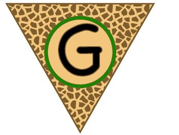 Giraffe Jungle Print Bunting Banner with Tan Center
