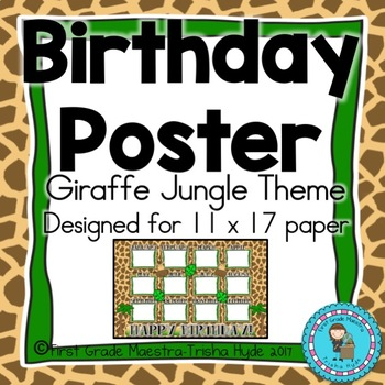 Giraffe  Theme Birthday Poster