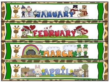 Giraffe  Theme Jungle Print Calendar Numbers, Months, Days, Seasons
