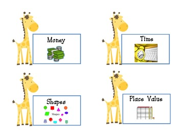 Giraffe Math and Language  Labels