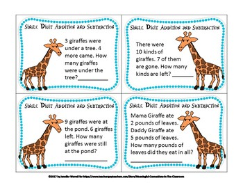 Giraffe Math Primary Task Cards: One & Two Digit Operations Story Problems