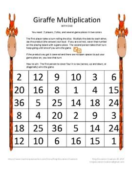 Giraffe Multiplication - With Dice