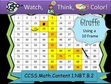 Giraffe Place Value Tens Frames - Watch, Think, Color Myst