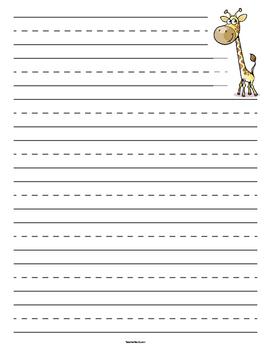 Giraffe Primary Lined Paper