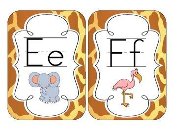 Giraffe Print Alphabet Cards