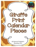 Giraffe Print Calendar Numbers, Months and Days