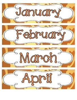 Giraffe Print Calendar Numbers, Months and Days