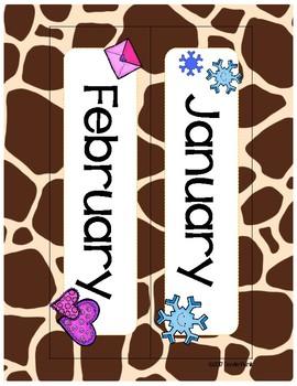 Classroom Decor Giraffe Print Calendar Set