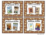 Giraffe Print Classroom Library Book Basket Labels