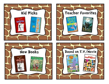 Giraffe Print Classroom Library Book Basket Labels Add-On
