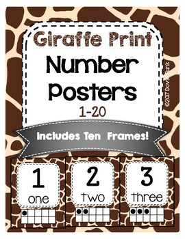 #roomdecor Giraffe Print Classroom Number Posters with Number Words & Ten Frames