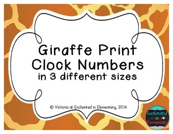 Giraffe Print Clock Numbers