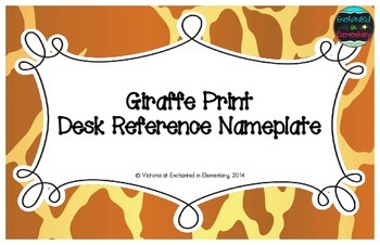 Giraffe Print Desk Reference Nameplates