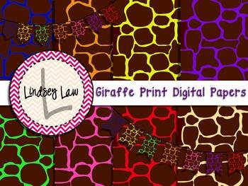 Giraffe Print Digital Papers